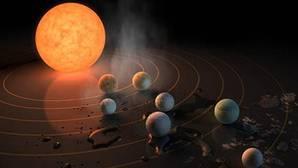 Ilustración de la portada de la revista «Nature» con el anuncio del nuevo sistema solar