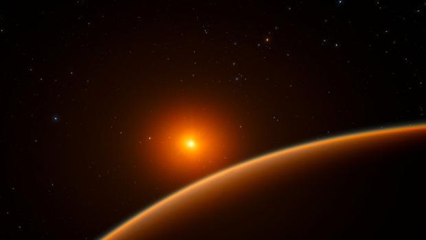 La ilustración muestra el nuevo planeta LHS 1140 b en órbita de una enana roja