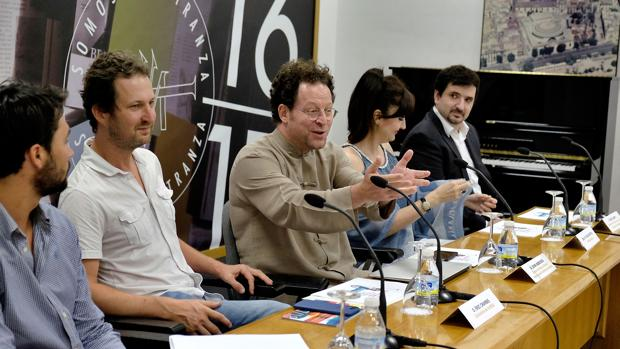 Eric Crambes, John Axelrod, María José Montiel e Íñigo Sampil, ayer en el Maestranza