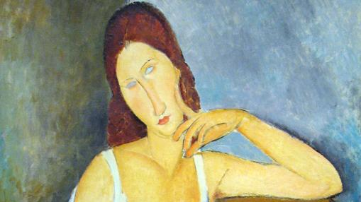 Detalle de «Retrato de Jeanne Hébuterne» (1919), de Modigliani