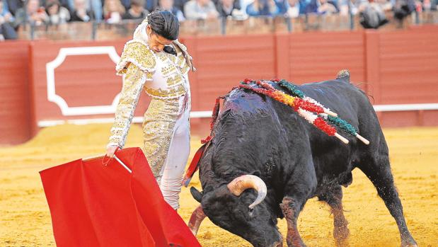 Alejandro Talavante ayer, de blanco y oro, en la plaza de toros de la Real Maestranza