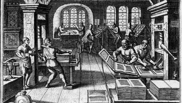 Imagen de una imprenta del Siglo de Oro