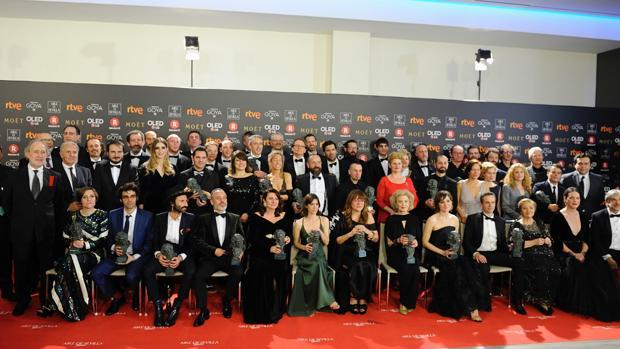 Foto de los premios en la pasada edición de los premios Goya