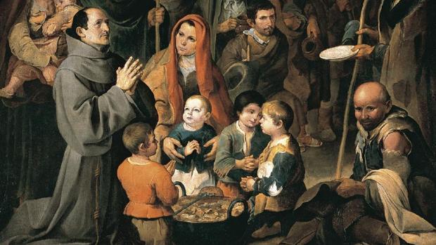 Detalle del cuadro «San Diego de Alcalá dando de comer a los pobres», que estará en la muestra del Bellas Artes