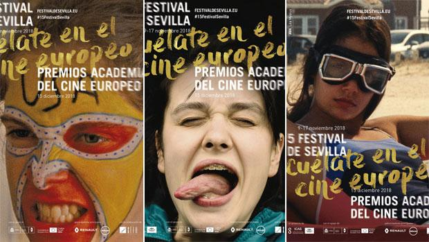 Tres modelos diferentes del cartel de la próxima edición del Festival de Sevilla