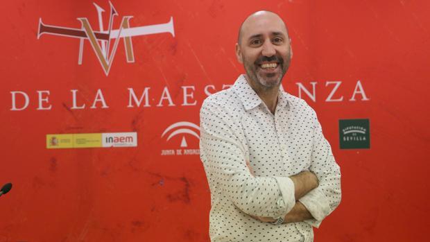 Javier Menéndez este miércoles durante su primera comparecencia en el Maestranza