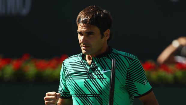 Federer celebra un punto en la final de Indian Wells