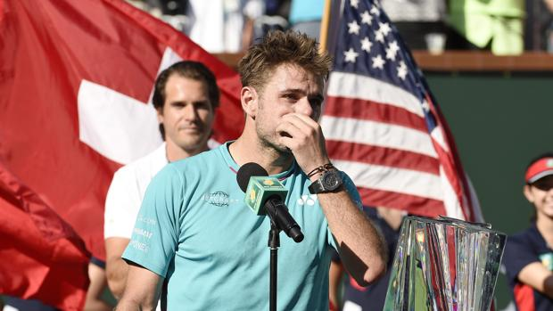 Stan Wawrinka, durante su discurso en la final de Indian Wells