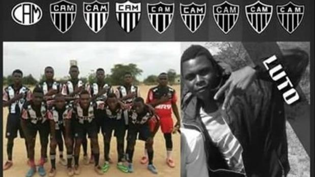Montaje del Atlético Mineiro de Tete, Mozambique, anunciando la muerte de su jugador