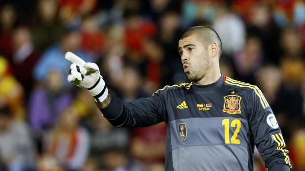 Valdés, en el Mundial 2014 con España