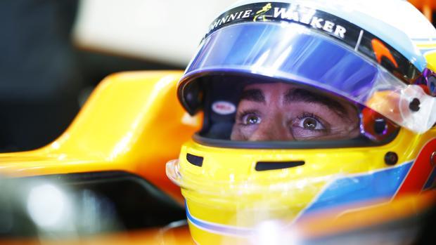 Fernando Alonso, durante un gran premio del Mundial 2017