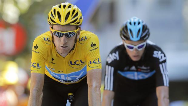 Bradley Wiggins y Chris Froome, durante el Tour de Francia de 2012