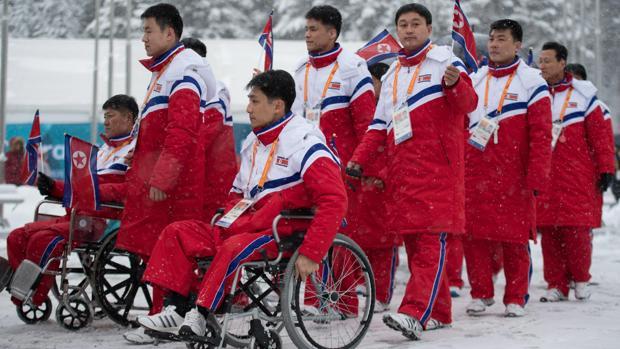 Delegación norcoreana para los Juegos Paralímpicos de Invierno de Pyeongchang