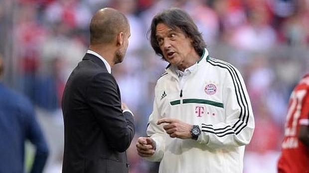 Müller-Wohlfashrt y Guardiola, durante la etapa del español en el Bayern
