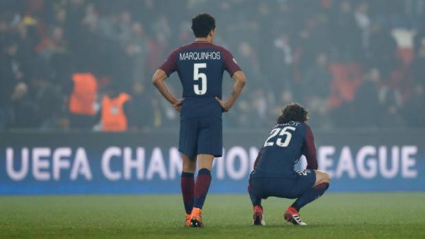 Marquinhos y Cavani durante un partido de la Champions