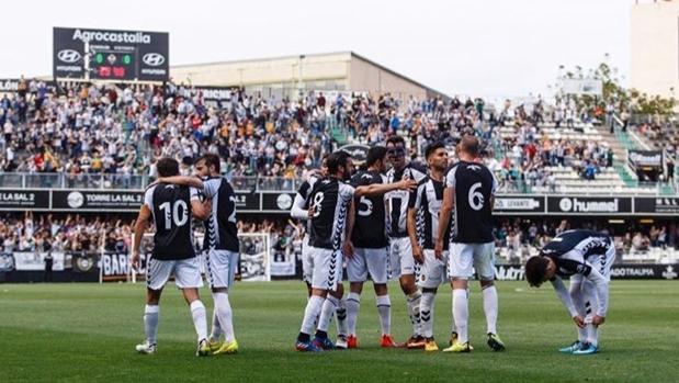 Celebración del CD Castellón, uno de los clubes clasificados para el playoff de ascenso