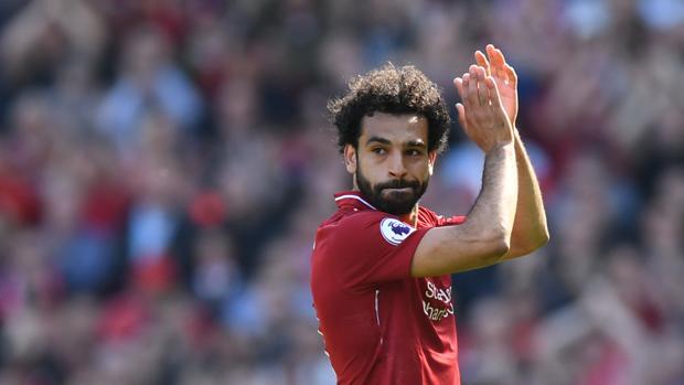 Salah durante un partido con el Liverpool