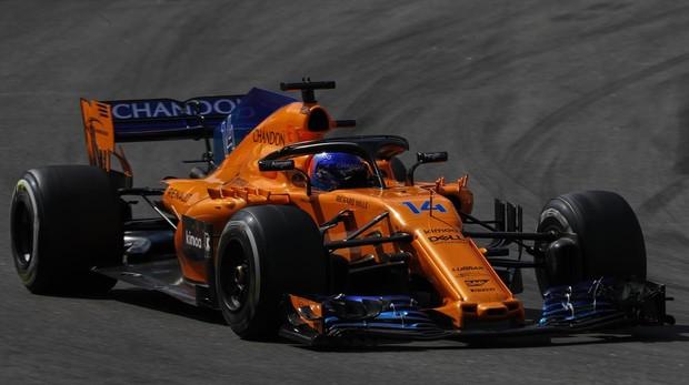Fernando Alonso, durante el Gran Premio de España
