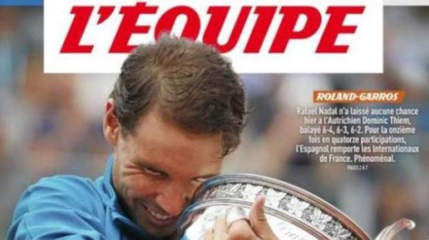 Rafa Nadal, en portada del diario francés «L´Equipe»