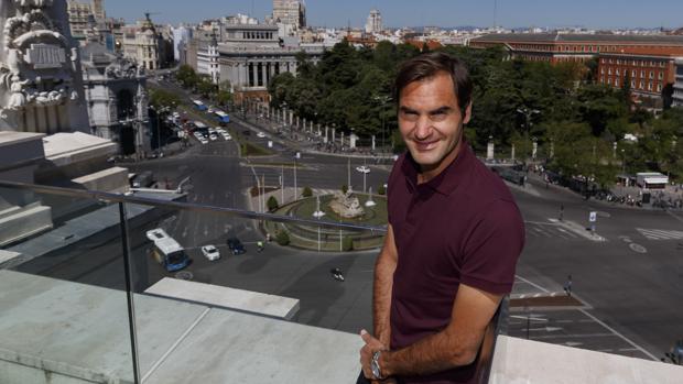 Federer, ayer, en el Ayuntamiento de Madrid