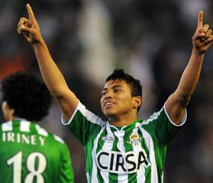 Betis: Jefferson Montero celebra el gol que marcó al Madrid en el Villamarín