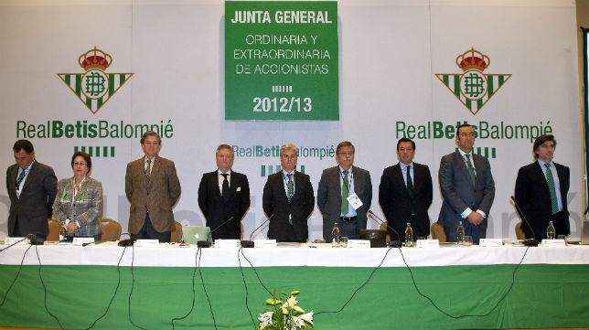 Los miembros del consejo de administración del Betis antes de la Junta de noviembre de 2013