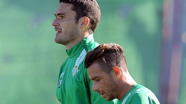 Rubén Castro y Jorge Molina, en un entrenamiento.