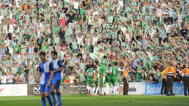La afición del Betis, en Sabadell