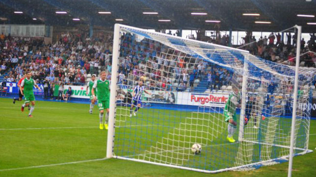 Perquis y Casado, tras el segundo gol de la Ponferradina