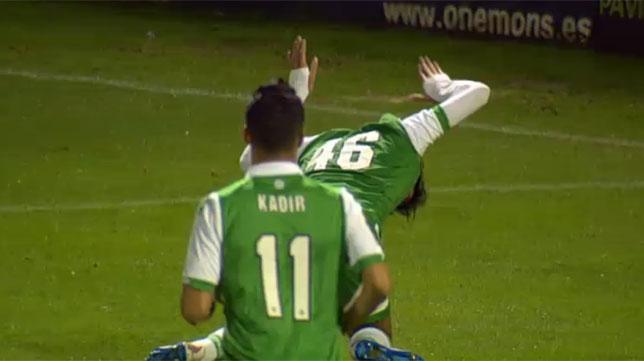 Dani Ceballos celebra el gol de Rubén en Lugo