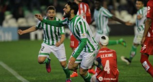 Jorge Molina celebra el gol ante el Girona