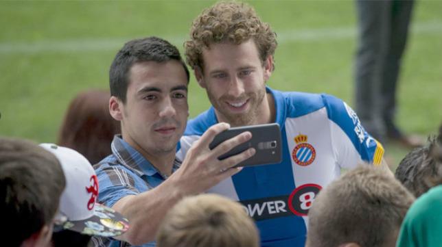 Cañas, el día de su presentación con el Espanyol