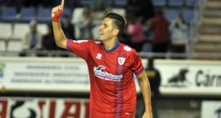 Álex Alegría celebra uno de los goles que ha anotado durante su cesión al Numancia