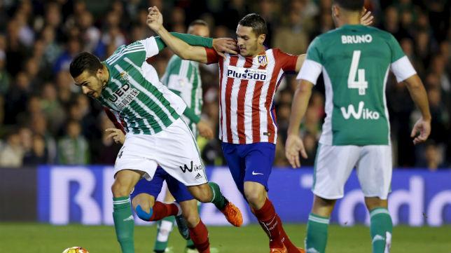 Xavi Torres, en el partido ante el Atlético de Madrid