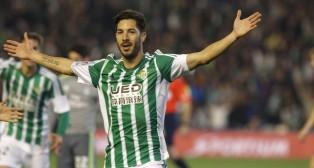 Cejudo celebra el gol ante el Madrid (Foto: Raúl Doblado).