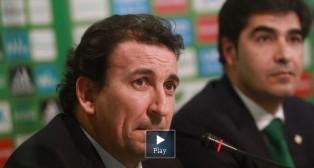 Ángel Haro y José Miguel López Catalán, en una rueda de prensa del Betis (Foto: Rocío Ruz)