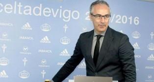Miguel Torrecilla, antes de comenzar una rueda de prensa del Celta 15-16