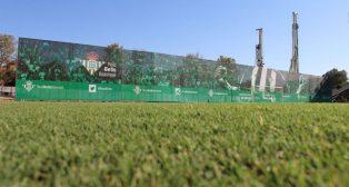 Imagen del actual aspecto de la portería de Gol Sur, con la lona al fondo (Foto: RBB).