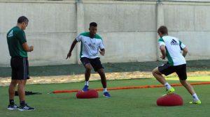 Donk y Brasanac, durante el entrenamiento (foto: RBB)