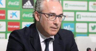 Miguel Torrecilla, en una comparecencia de prensa como director deportivo bético