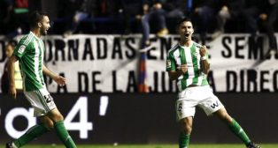 Felipe Gutiérrez celebra su gol en Pamplona ante el Osasuna