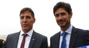 Berizzo y Víctor, en un acto previo a la disputa de un partido entre Celta y Deportivo