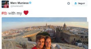 El tweet de Muniesa con su foto en Sevilla