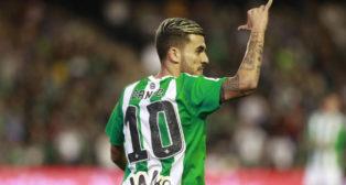 Ceballos realiza un gesto durante el Betis-Osasuna