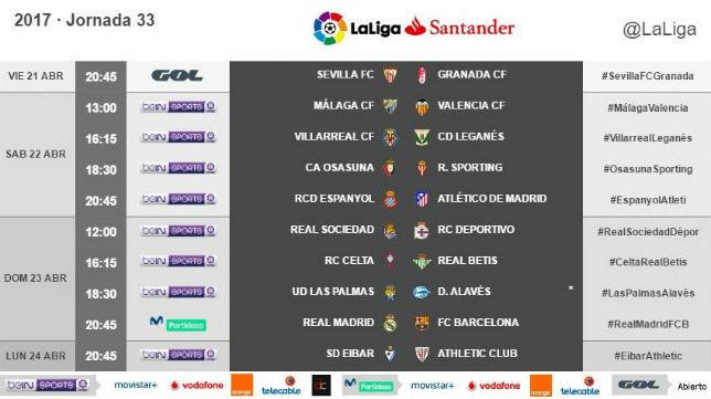 Horarios correspondientes a la 33ª jornada de LaLiga Santander (Foto: @LaLiga)