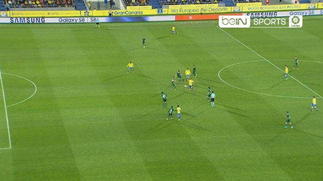 Fuera de juego de Boateng en Las Palmas-Betis (Foto: BeIN Sport)