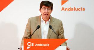 El líder de Ciudadanos en Andalucía, Juan Marín, durante su comparecencia de este martes (Foto: Europa Press)