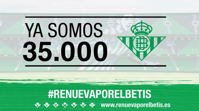 El Real Betis ha anunciado que ha superado los 35.000 abonados