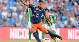 Ryad Boudebouz, en un lance del amistoso Montpellier-Betis del pasado verano