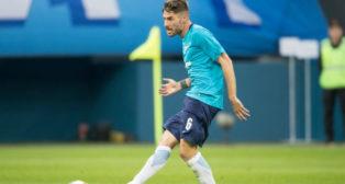 Javi García, en el último partido que disputó con el Zenit, en Europa